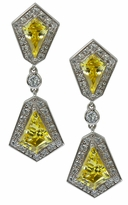 Dynasty Art Deco Canary Kite Cubic Zirconia Halo Drop Pave Earrings