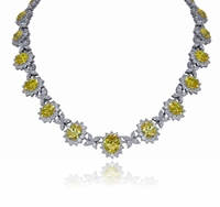 Ecstasea Canary Oval Cubic Zirconia Halo Cluster Estate Style Necklace