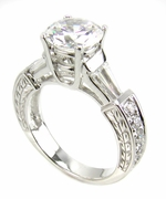 Eiffel Tower 1.50 Carat Round Cubic Zirconia Baguette and Pave Engraved Solitaire Engagement Ring