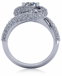 Elation 1 Carat Round Cubic Zirconia Double Pave Swirl Engagement Ring