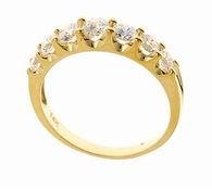 Electra Graduated Cubic Zirconia Round Shared Prong Set Anniversary Band