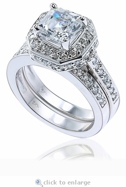Elegant Asscher 2.5 Carat Cubic Zirconia Pave Halo Bridal Wedding Set