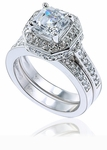 Elegant Asscher 5.5 Carat Cubic Zirconia Pave Halo Bridal Wedding Set