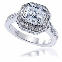 Elegant Asscher Cut Cubic Zirconia Cathedral Halo Pave Set Solitaire Engagement Rings