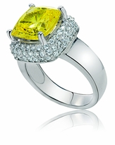 Eleni 5.5 Carat Cushion Cut Square Cubic Zirconia Pave Halo Solitaire Cocktail Ring