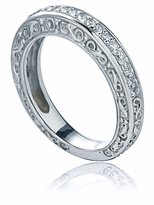 Eliza Pave Round Cubic Zirconia Engraved Antique Estate Style Wedding Band