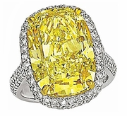 Ellia 9 Carat Cubic Zirconia Canary Elongated Cushion Cut Halo Pave Solitaire