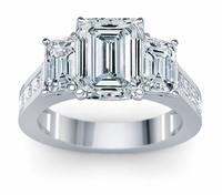 Eloise 2.5 Carat Emerald Cut Cubic Zirconia Three Stone Channel Set Princess Cut Ring