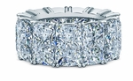 Elongated Cushion Cut 1.5 Carat Each Cubic Zirconia Four Prong Set Eternity Band