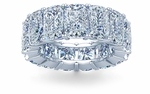 Elongated Cushion Cut 1 Carat Each Cubic Zirconia Four Prong Set Eternity Band