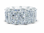 Elongated Cushion Cut 2.5 Carat Each Cubic Zirconia Four Prong Set Eternity Band