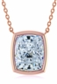 Elongated Cushion Cut Bezel Set Cubic Zirconia Solitaire Pendants