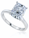 Elongated Cushion Cut Cubic Zirconia Cathedral Solitaire Engagement Rings