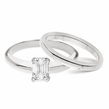 Emerald Cut Classic Cubic Zirconia Solitaire Engagement Rings with Matching Wedding Bands