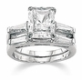 Emerald Cut Cubic Zirconia Baguette Solitaire with Matching Band Wedding Sets