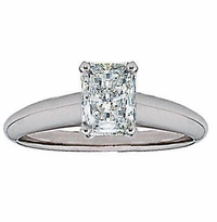 Emerald Cut Cubic Zirconia Classic Solitaire Engagement Rings