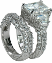 5.5 Carat Emerald Cut Cubic Zirconia Trapezoid Scintillation Wedding Set with Contoured Band