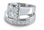Emerald Cut Cubic Zirconia Trellis Luccia Bridal Set with Eternity Band