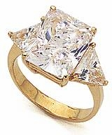 Emerald Cut with Trillions Three Stone Cubic Zirconia Engagement Rings