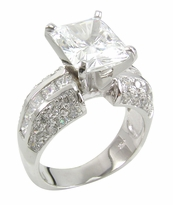Emerald Riviera 4 Carat Emerald Cut Cubic Zirconia Solitaire Channel Set Princess Cut Pave Engagement Pave Ring