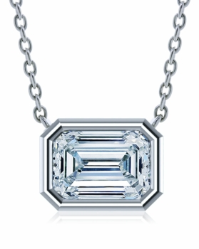 Emerald Step Cut Bezel Set Cubic Zirconia Horizontal Solitaire Pendants