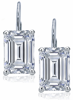 Emerald Step Cut Cubic Zirconia Leverback Earrings