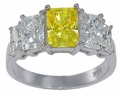Emerra 1 Carat Canary Graduated Radiant Emerald Cut Cubic Zirconia Ring