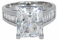 Emerson 4 Carat Radiant Emerald Cut Cubic Zirconia Channel Set Baguette Solitaire Engagement Ring