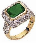 Emine Bezel Set 4 Carat Emerald Cut Man Made Gemstone Pave Halo Cubic Zirconia Engagement Ring