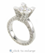 Empire 2 Carat Round Cubic Zirconia Pave Solitaire Engagement Ring