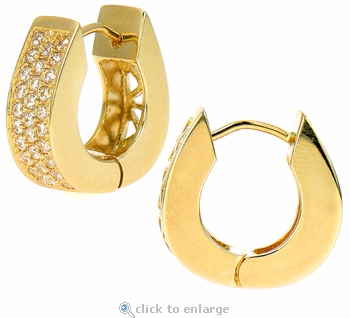 Emporia Pave Set Round Cubic Zirconia Huggie Hoop Earrings