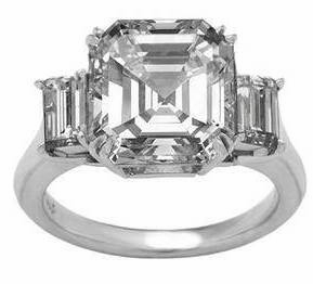 Empress 4 Carat Asscher Inspired Cubic Zirconia Emerald Step Cut Three Stone Solitaire Engagement Ring