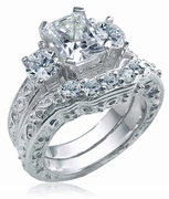 Emro Emerald Cut Round Cubic Zirconia Three Stone Engraved Wedding Set