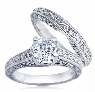Engraved 1.5 Carat Round Cubic Zirconia Trellis Luccia Bridal Set with Matching Band