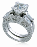 Engraved Antique 2.5 Carat Asscher Cut Cubic Zirconia Baguette Wedding Set