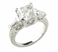 Engraved Antique 2.5 Carat Asscher Cut Cubic Zirconia Baguette Solitaire Engagement Ring