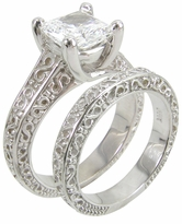 Engraved Luccia Princess Cut Cubic Zirconia Trellis Bridal Set with Matching Band