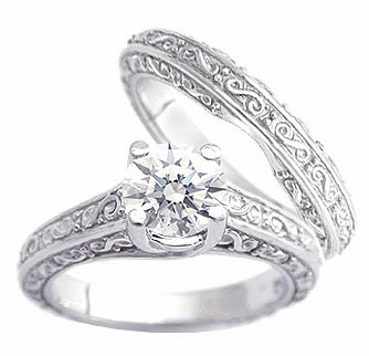 Engraved Round Cubic Zirconia Trellis Luccia Bridal Set with Matching Band