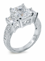 Esmeralde 4 Carat Emerald Cut Three Stone Cubic Zirconia Antique Engraved Solitaire