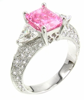 Estancia 1.5 Carat Lab Created Pink Emerald Cut Cubic Zirconia Trillion Pave Solitaire Engagement Ring
