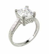 Estate 2.5 Carat Cubic Zirconia Cushion Cut Engraved Solitaire Engagement Ring