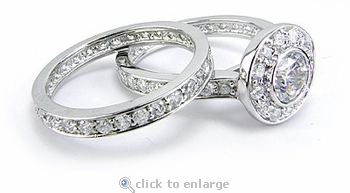 Eternal Love .75 Carat Round Halo Cubic Zirconia Bezel Bridal Set
