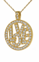 Eternal Love Pave Set Round Cubic Zirconia Circle Pendant