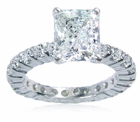 Eternity Band Style 1.5 Carat Emerald Radiant Cut Cubic Zirconia Solitaire Engagement Ring