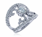 Ettien 1 Carat Round Cubic Zirconia Split Shank Pave Band Ring