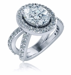 Eugenia 2.5 Carat Oval Cubic Zirconia Pave Halo Split Shank Engagement Ring