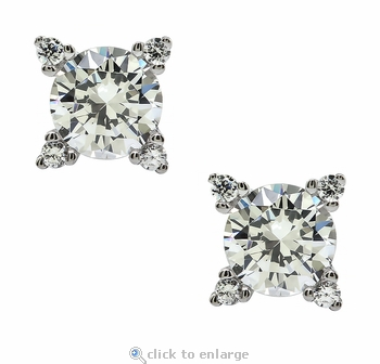 Euro .75 Carat Double Prong Set Round Cubic Zirconia Stud Earrings