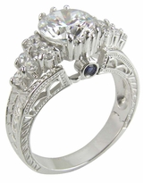 Euro Deco 2 Carat Round Cubic Zirconia Engraved Estate Style Antique Ring
