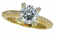 Europa 2 Carat Round Cubic Zirconia Pave Set Fancy Solitaire Engagement Ring