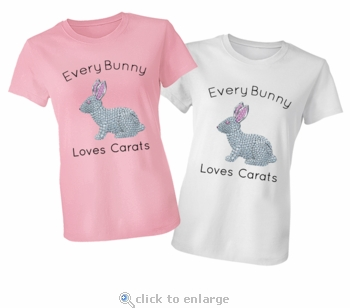 Every Bunny Loves Carats, Pave Pink And White Diamond Easter Rabbit T-Shirt
